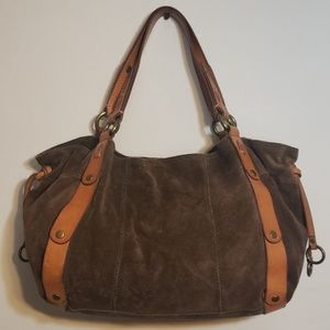 Lucky Brand Brown Suede Leather Hobo Handbag Purse